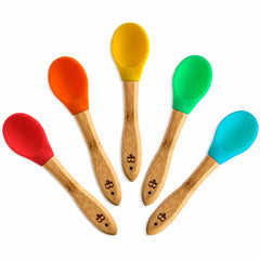 Bambusi 100% Natural Bamboo Spoons with Flexible BPA-Free Silicone Tips