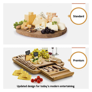 Bambusi 100% Natural Bamboo Cheese & Charcuterie Buffet Cutting Board with Cutlery Set