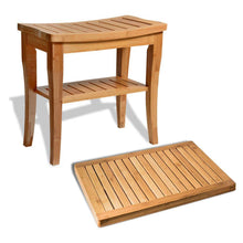 Bambusi Bamboo Shower Seat Bench with Bathroom Floor Mat