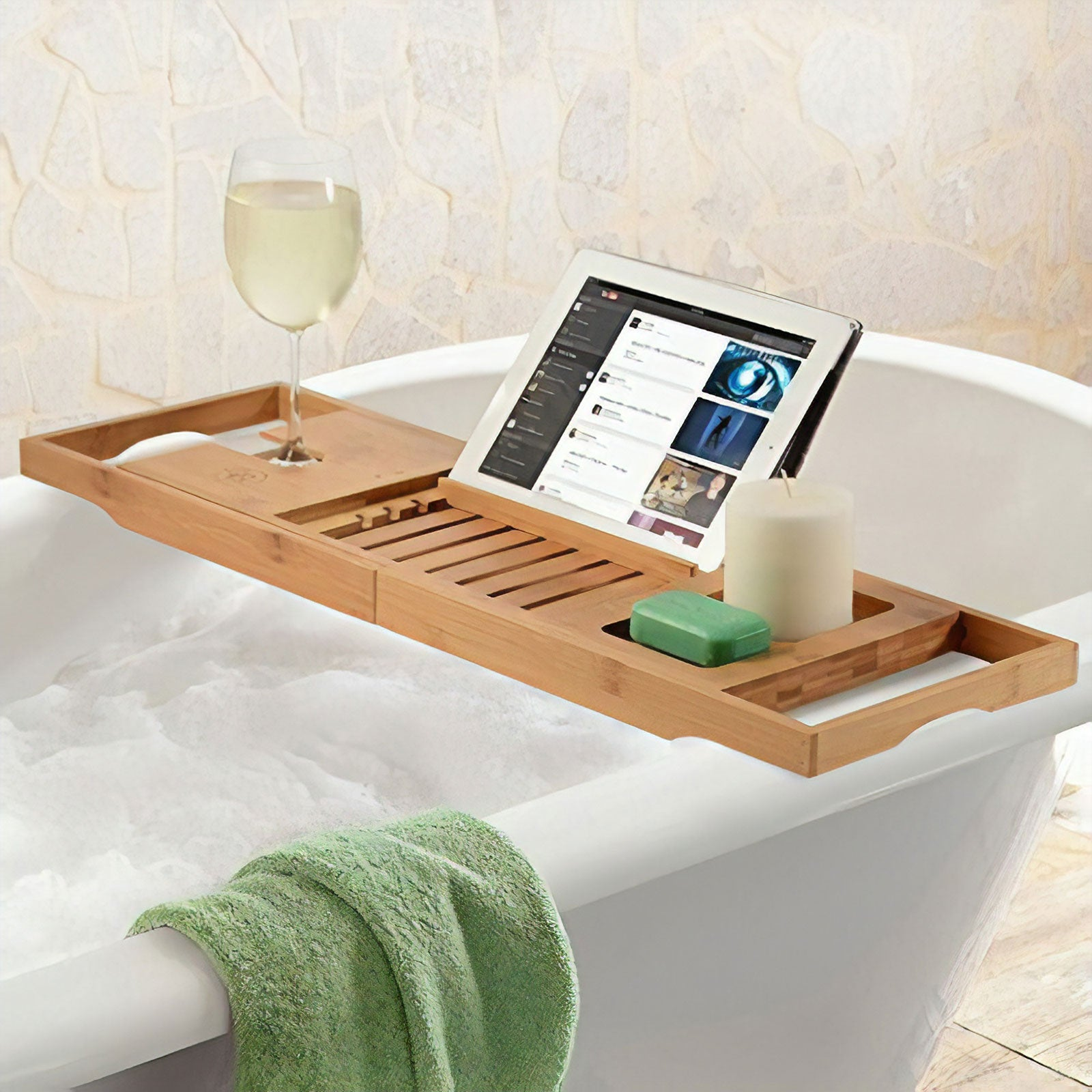 Bamboo Bathtub Caddy Extendable Slide Tray Holder - Bambusi by Belmint