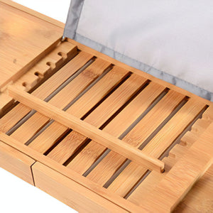 Bambusi 100% Bamboo Bathtub Caddy with Extendable Slides, Cellphone Tray & Integrated Wineglass Holder
