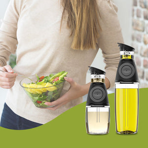 Belwares Oil & Vinegar Dispenser Set with Drip-Free Sprouts - 2 Pack Includes 600ml and 250ml Sized Bottles
