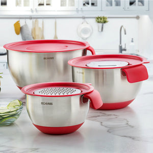 Belwares Stainless Steel Mixing Bowls with Grater