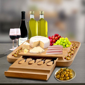 Bambusi 100% Natural Bamboo Cheese Board & Cutlery Set with Slide-Out Drawer