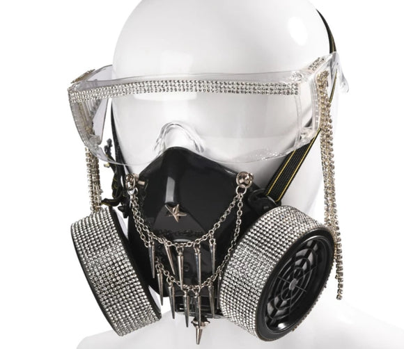 Gas Mask Glasses With Hanging Crystal Tassel
