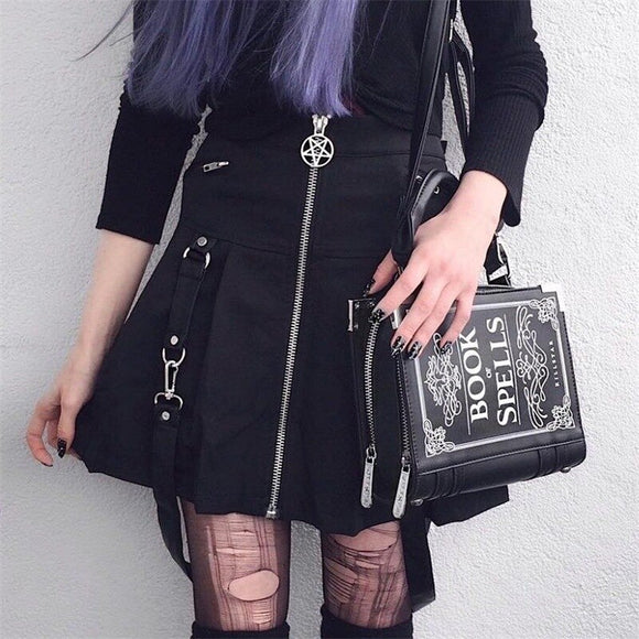 High Waist Zippered Punk Skirt