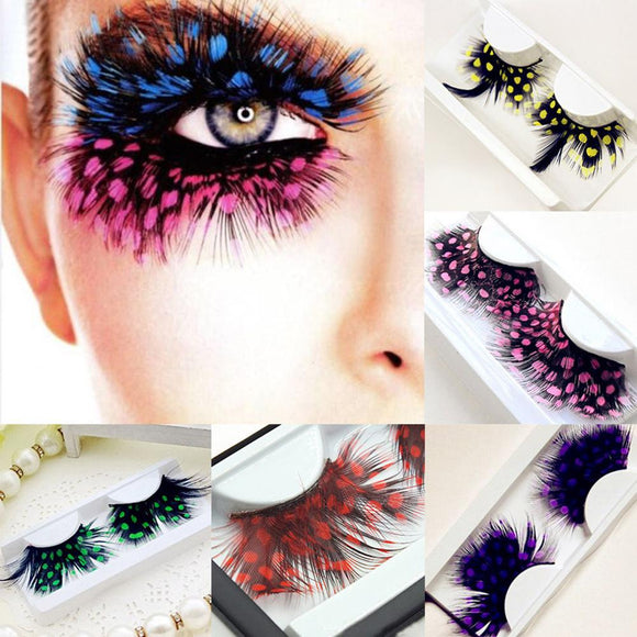 1 Pair False Feather Dotted Eyelashes