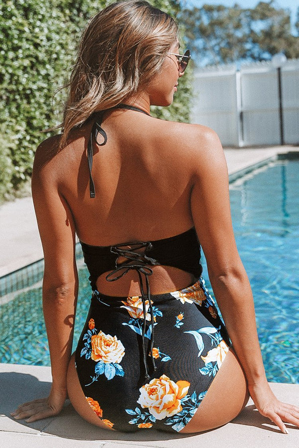 Black Floral Print Halter One-Piece Swimsuit