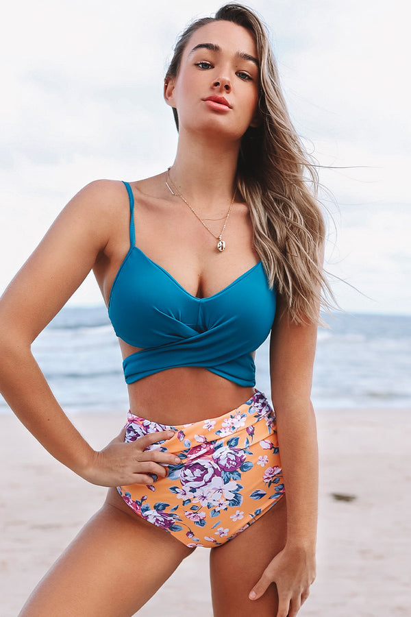 Summer Dream Blue Wrap And Floral High-waisted Bikini
