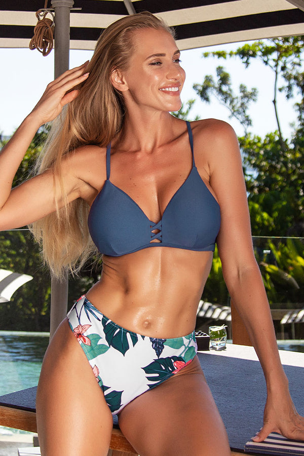 Navy and Floral Strappy Bikini Set