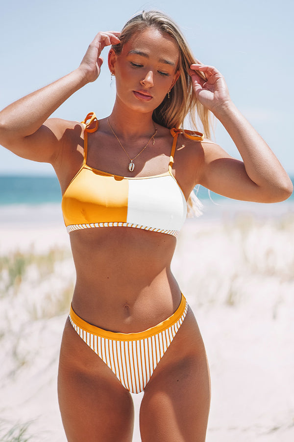 Orange Striped Bandeau Bikini
