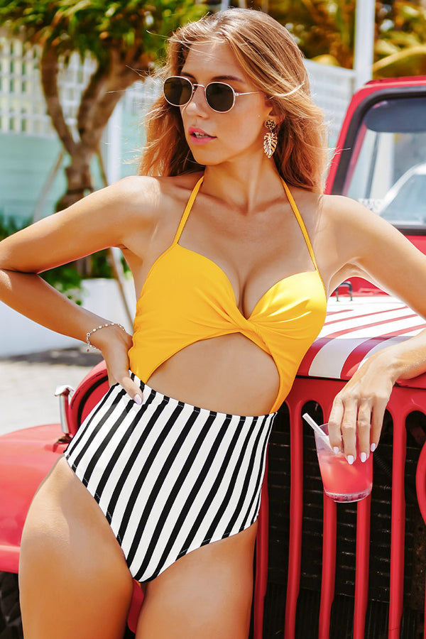 Yellow and Stripe Lace Up One Piece Swimsuit