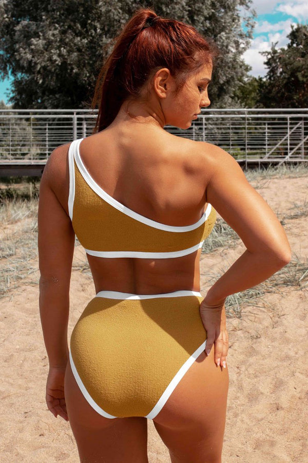 Yellow Sporty One Shoulder High Waisted Textured Bikini