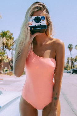 Pink One-Shoulder One-Piece Swimsuit