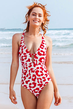 Red Leopard Print Deep V-neck One-Piece Swimsuit