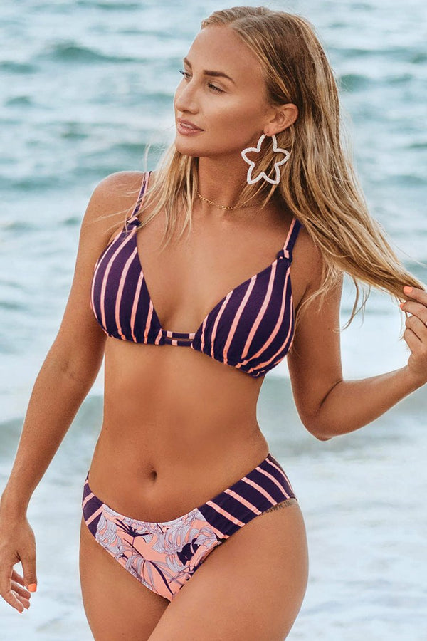 Purple Stripe and Floral Bikini
