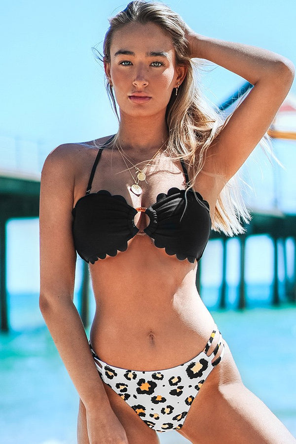 Black and Leopard Scallop Bandeau Bikini