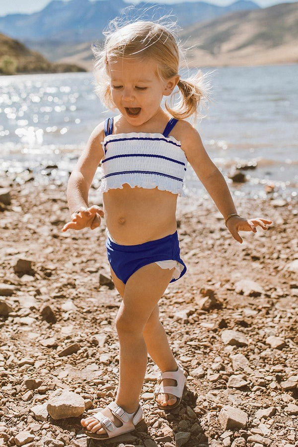 Navy and White Smocked Bikini For Toddler Girls and Girls