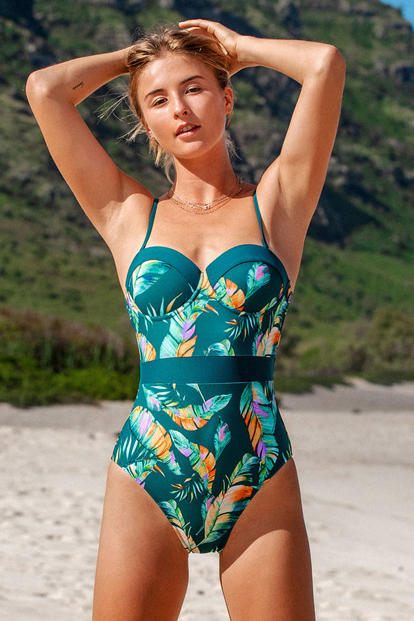 Tropical Leafy Moulded One-Piece Swimsuit