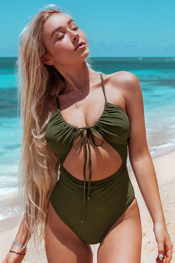 Tie-Front Cutout One-Piece Swimsuit