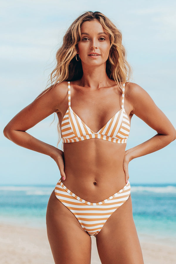 Orange And White Striped Triangle Bikini