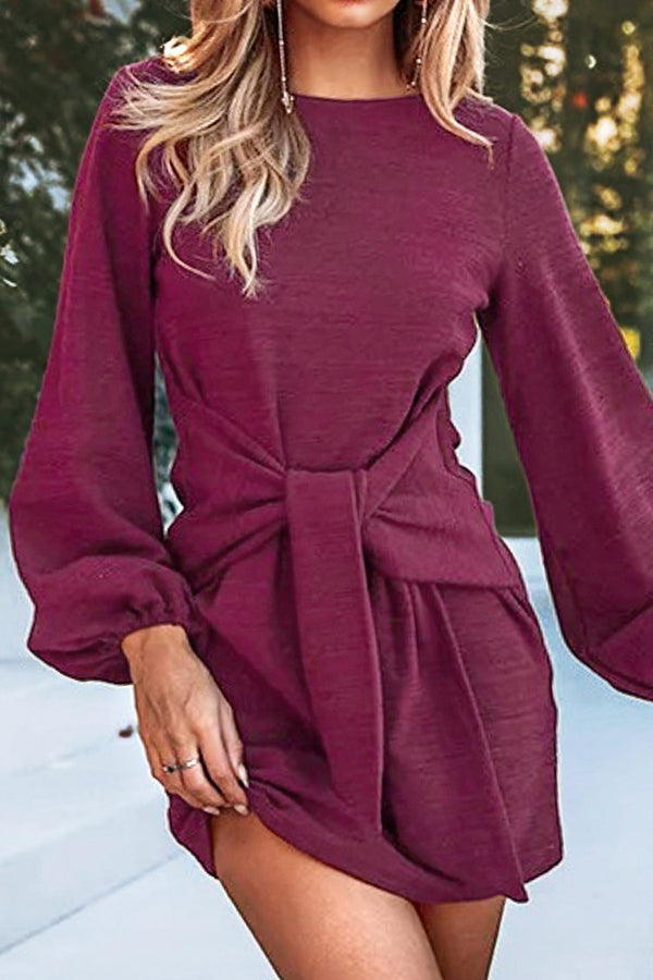 Wine Red Puff Long Sleeve Mini Dress