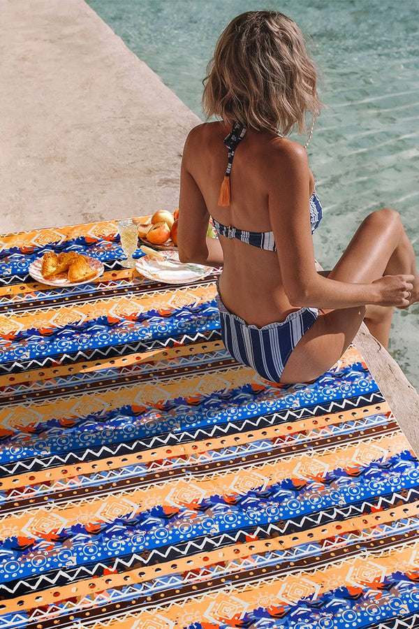 Bohemian Multicolored Striped Print Rectangular Beach Blanket