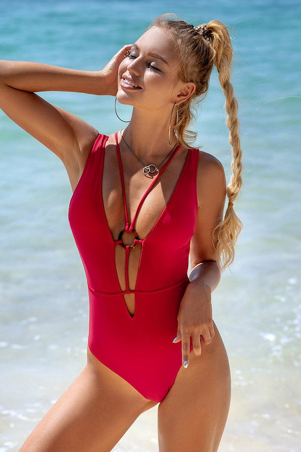 Red Strappy Lace Up One Piece Swimsuit