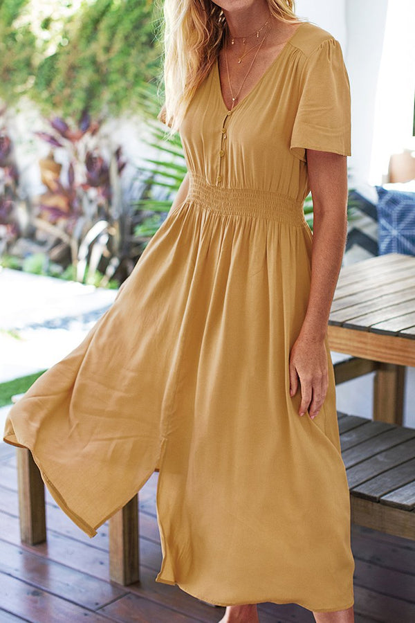 Solid Short Sleeve Midi Dress with Smocked Waist
