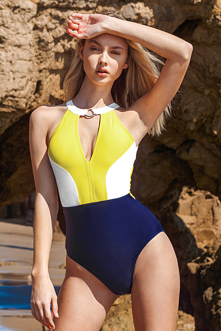 Yellow White and Black Cutout One-Piece Swimsuit