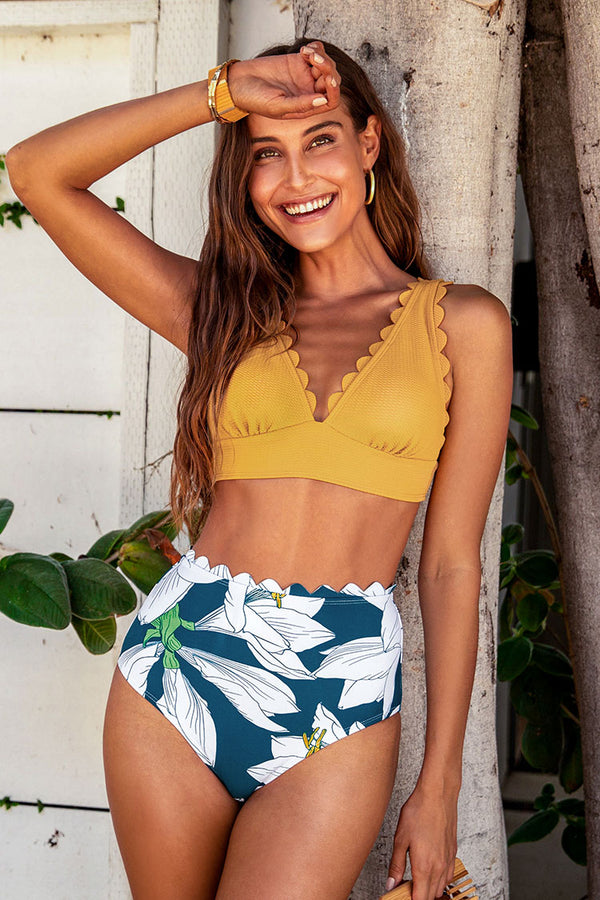 Yellow and Floral V-Neck Scalloped Bikini