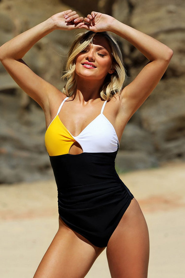Yellow White and Black Colorblock One Piece Swimsuit