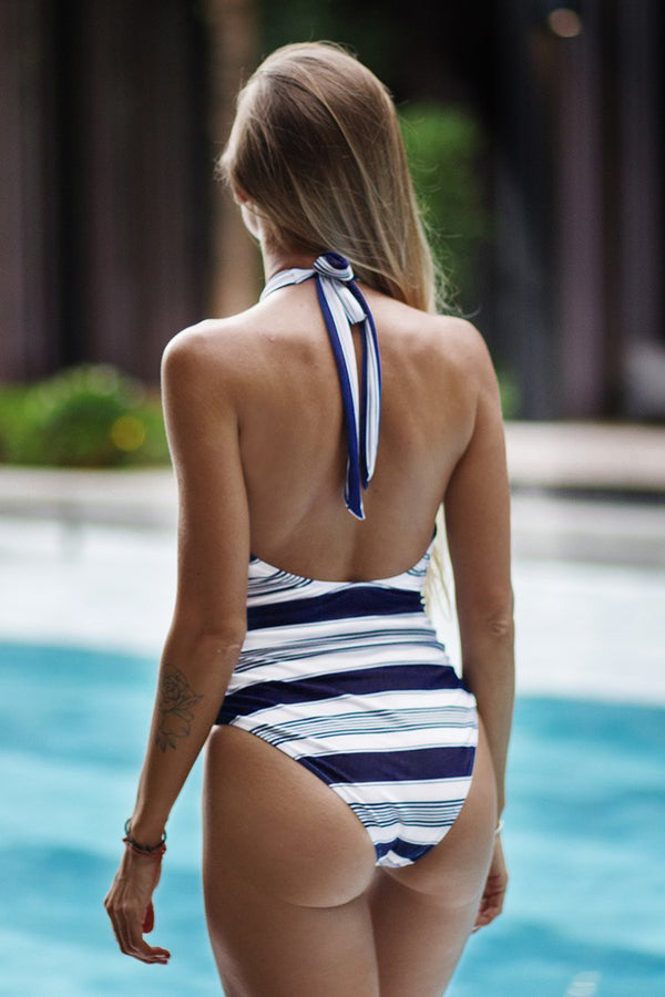 Navy And White Wrap One-Piece Swimsuit