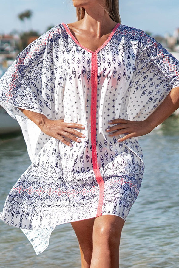 Purple and Pink Print Knee-Length Cover Up