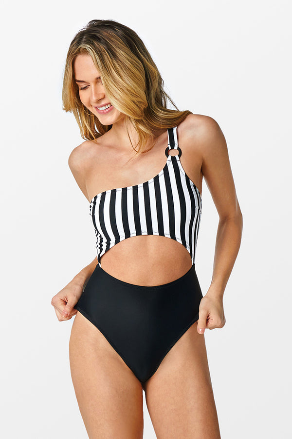 Black Striped One-shoulder O-ring Cutout Swimsuit