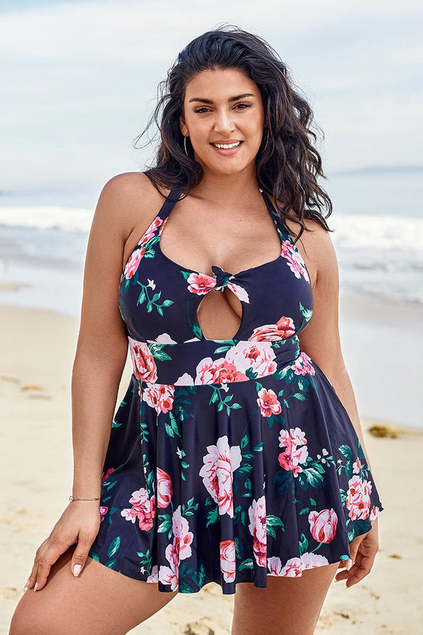 Romantic Floral Halter Plus Size One Piece Swimsuit