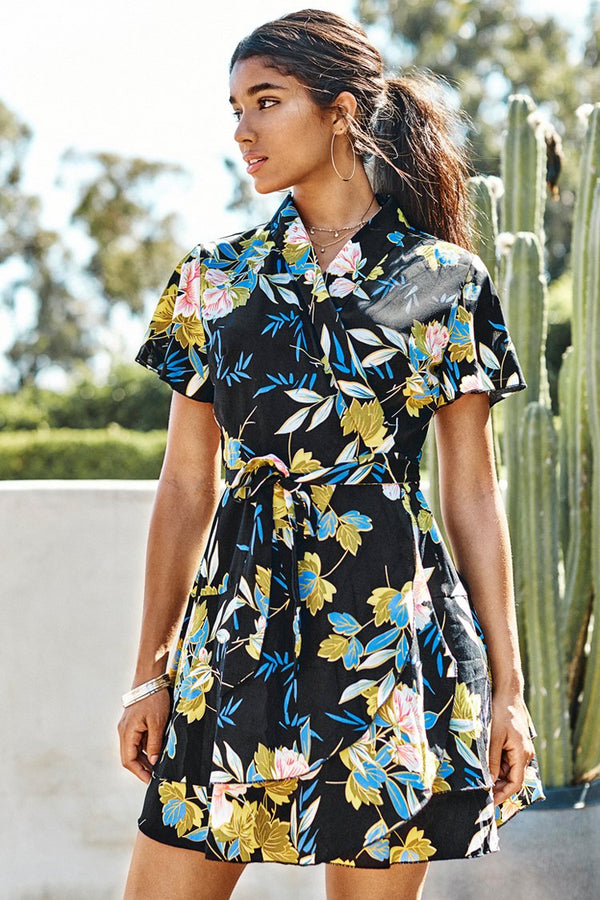 Black Floral Short Wrap Dress