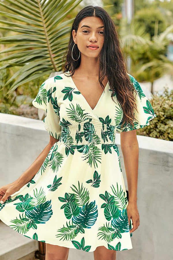 Palm Print Smocked Waist Dress