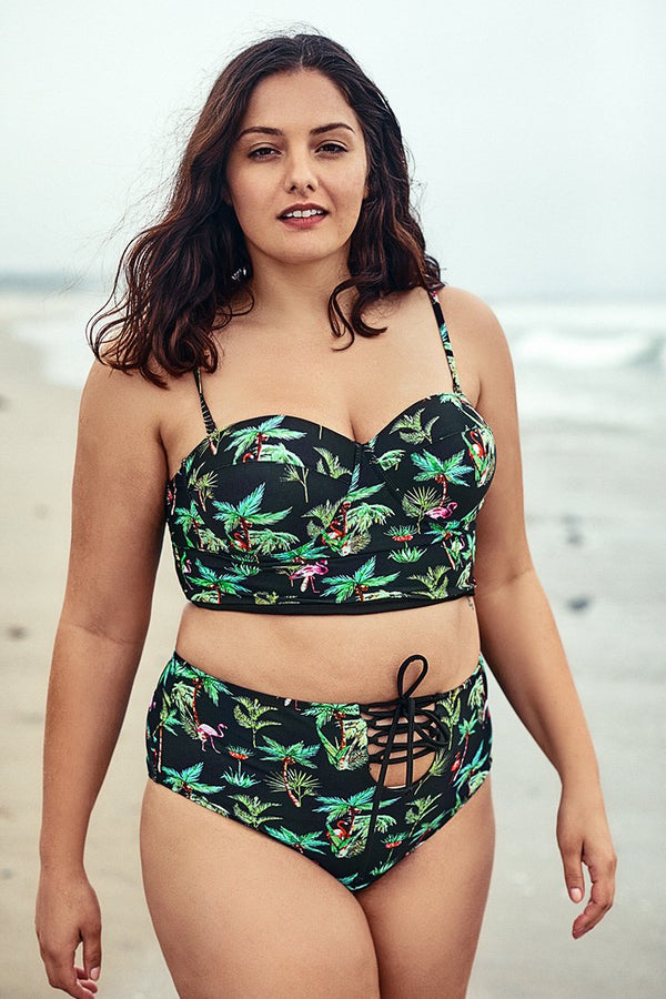 Palm Tree Print Push Up Plus Size Bikini