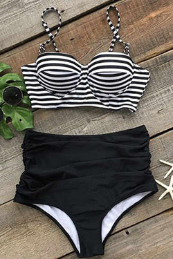 All About U Stripe High-waisted Bikini Set