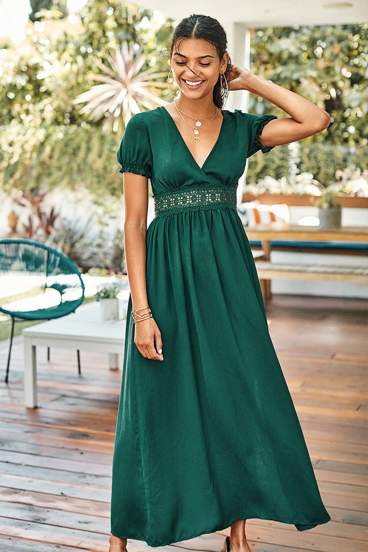 Teal Puff Sleeve Maxi Dress