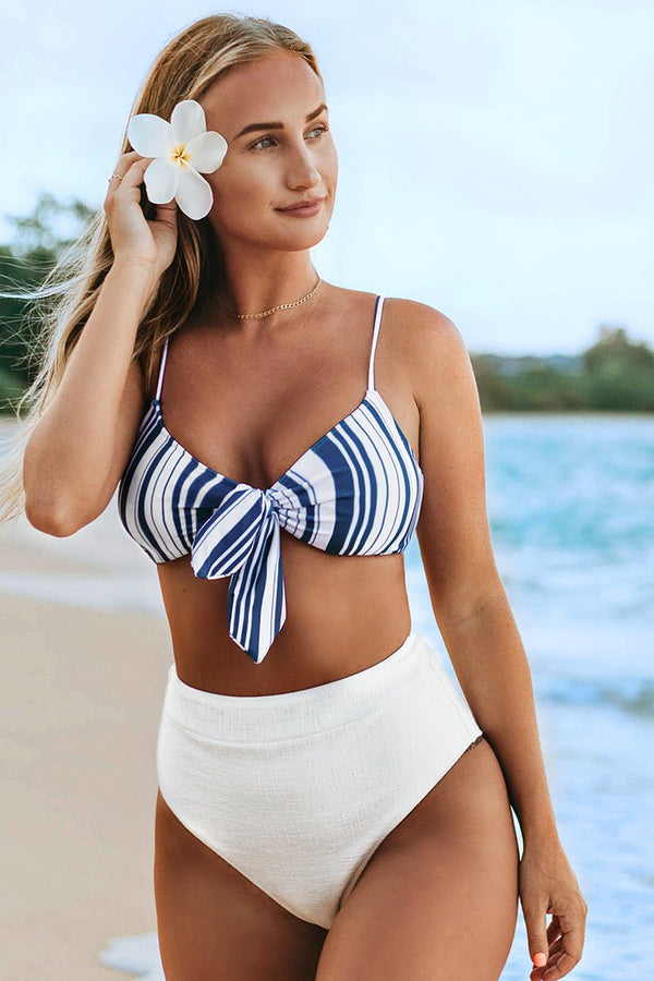 Stripe and White High-Waisted Bikini