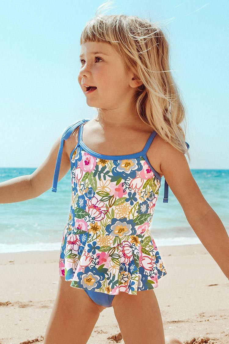 Blue Floral One-Piece Swimsuit For Toddler Girls and Girls