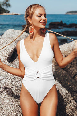 White O-Ring Plunging One-Piece Swimsuit