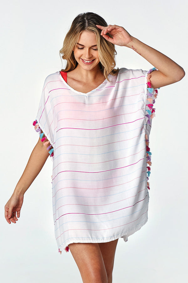 Colorful Striped and Tassel Trimmed Cover Up