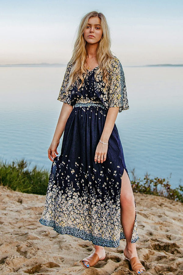 Navy Floral Printed V-Neck Maxi Dress