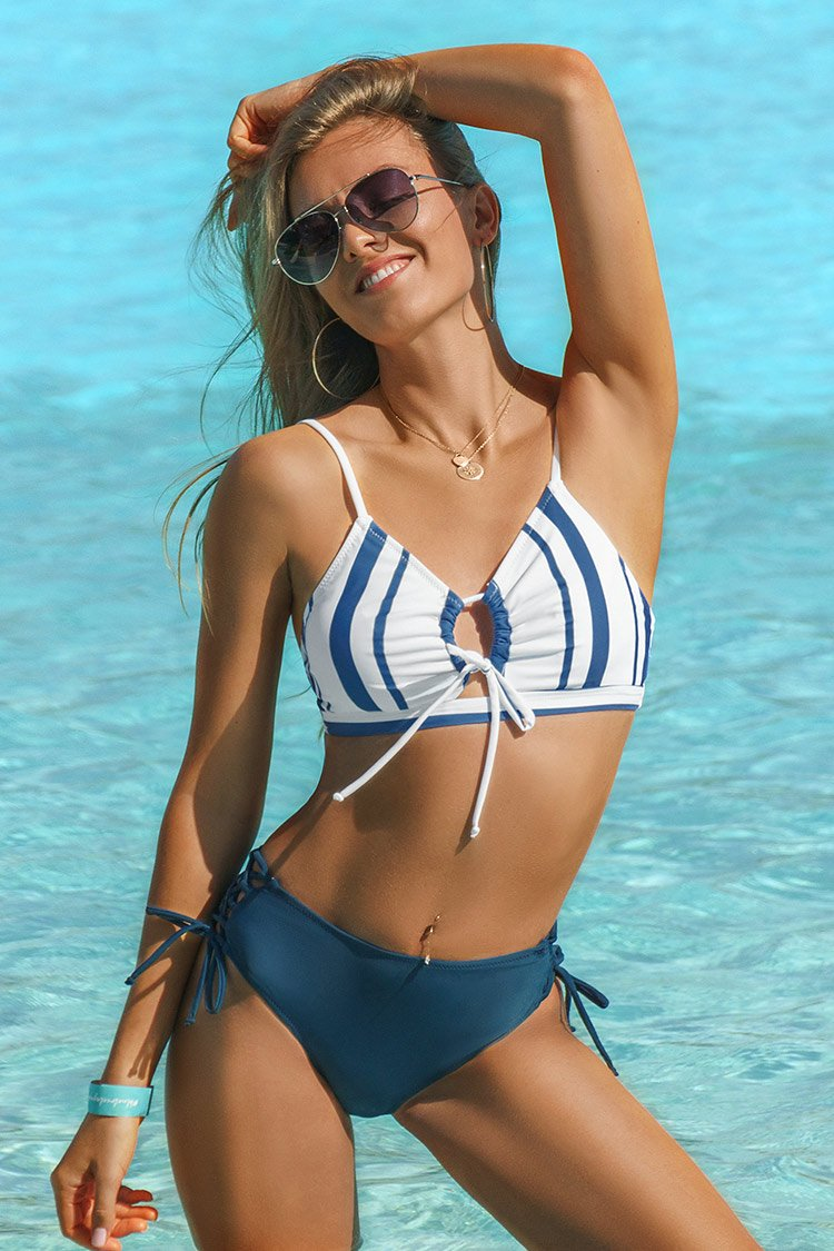 Blue Striped Lace Up Bikini