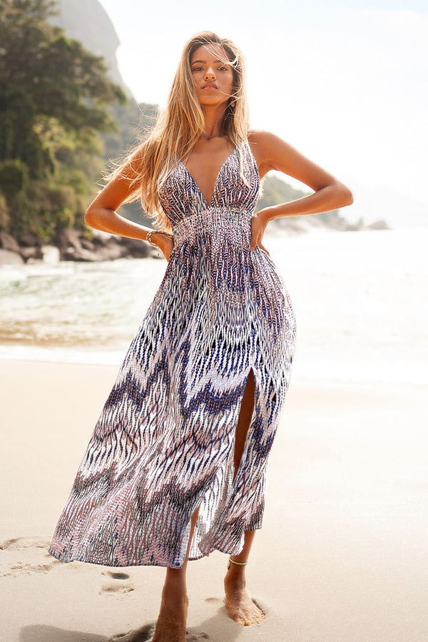 Boho Plunging V-Neck Dress