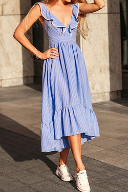 Blue Stripe Ruffled Midi Dress