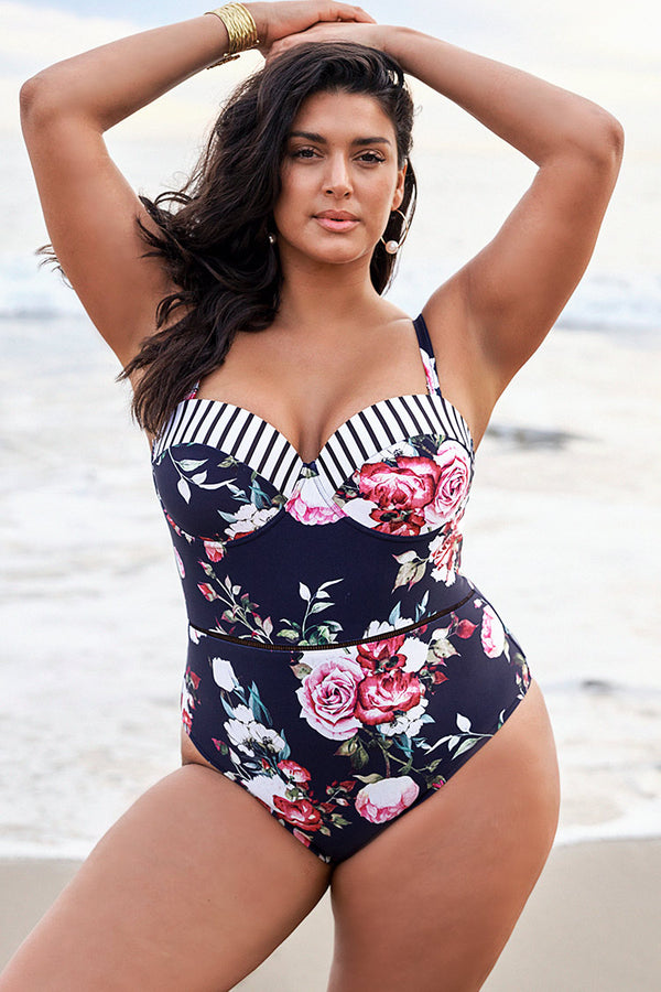 Floral Print Push Up Plus Size One Piece Swimsuit